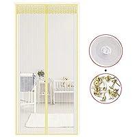 HSBAIS マグネット式網戸、ドア用網戸 玄関カーテン マジックテープ付き 蚊などの虫をシャットアウト 取付簡単 自動で閉まる,yellow_100x240cm(39x94in)