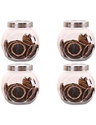 4つの鉛フリーガラスドライフルーツシール保湿ストレージジャーのストレージジャーパック(4パック)