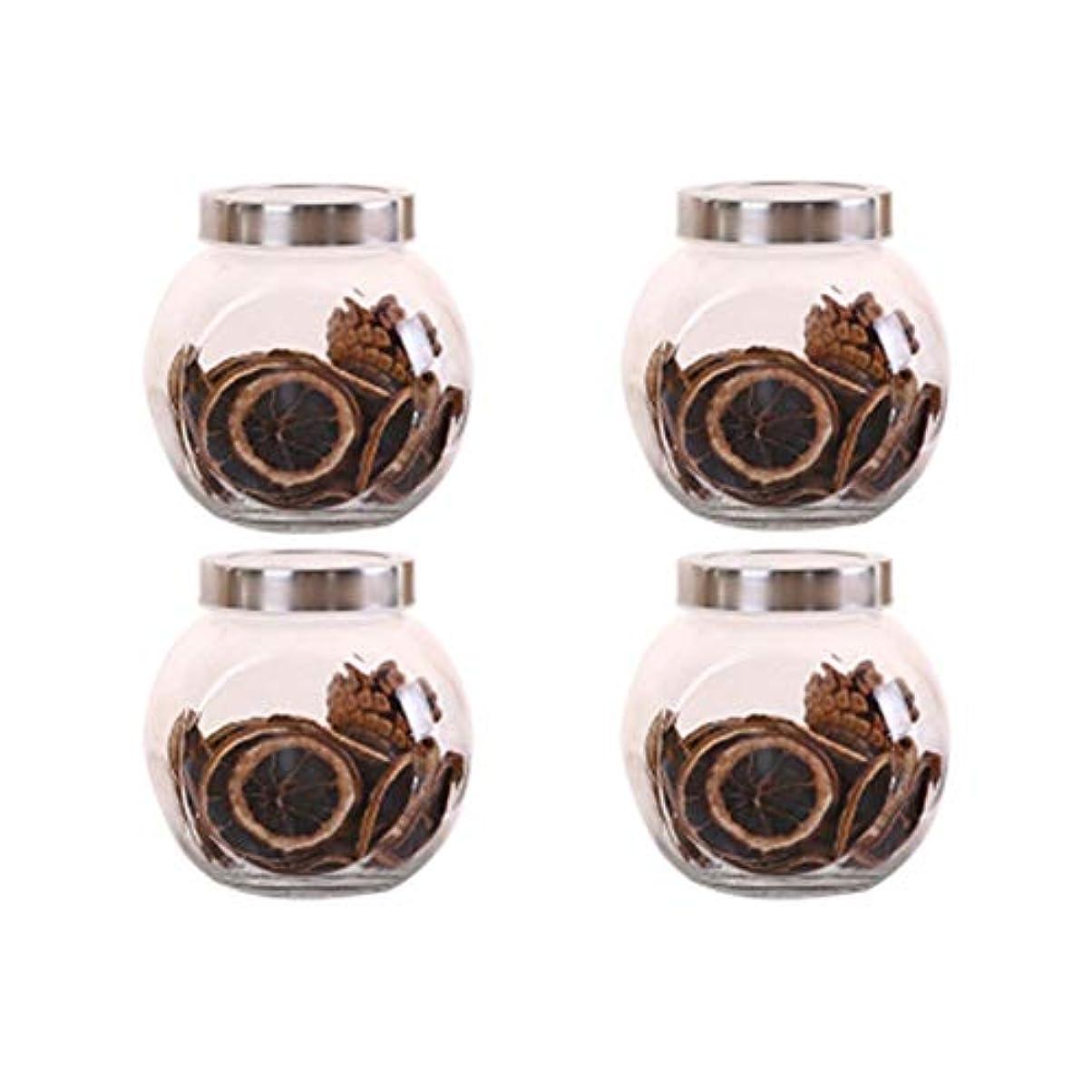 本土言語関連する4つの鉛フリーガラスドライフルーツシール保湿ストレージジャーのストレージジャーパック(4パック)