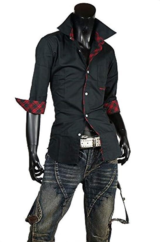 写真他に可決(メンズナーレ) MensNare ゴシックシャツ メンズ ドレスシャツ チェック 7分袖 国産 A270219-05