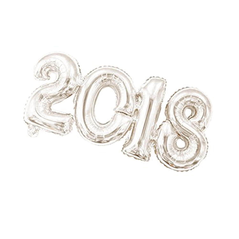 Dovewill 新年 年越し 元旦 2018 ナンバー 数字 バルーン バルーン 風船 正月 お祝い 新年挨拶 忘年会 全2色選べ - シルバー