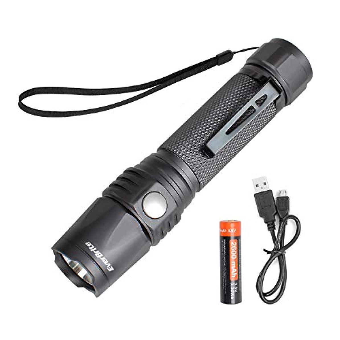 近所のコークス書き込みDuraBrite LEDフラッシュライト 550ルーメン  IP68防水 防塵 7段階の点灯モード 18650バッテリとUSBコードが付き キャンプ 停電 防災対策