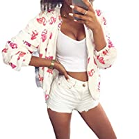 Tootess 女性ビッグポケットファッションラウンジ花プリントジッパーデニムジャケット White M
