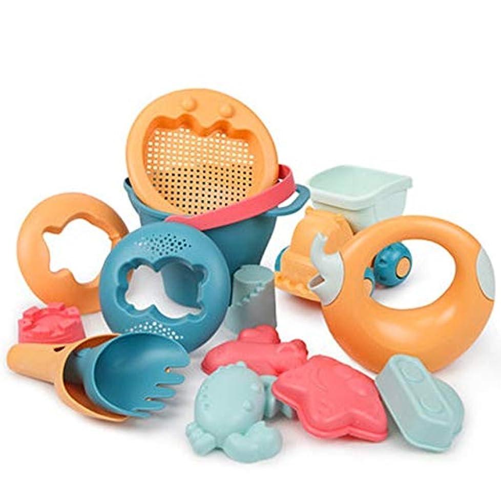 フライト代わりにを立てる学んだ子供のビーチおもちゃ シーサイドビーチおもちゃセットカラフルなトラック非毒性ギフト水がかわいいキッズベビー夏のアウトドアゲーム漫画のサンドボックス滑らかなエッジを再生 ビーチや中庭に適しています (Color : 14pcs)