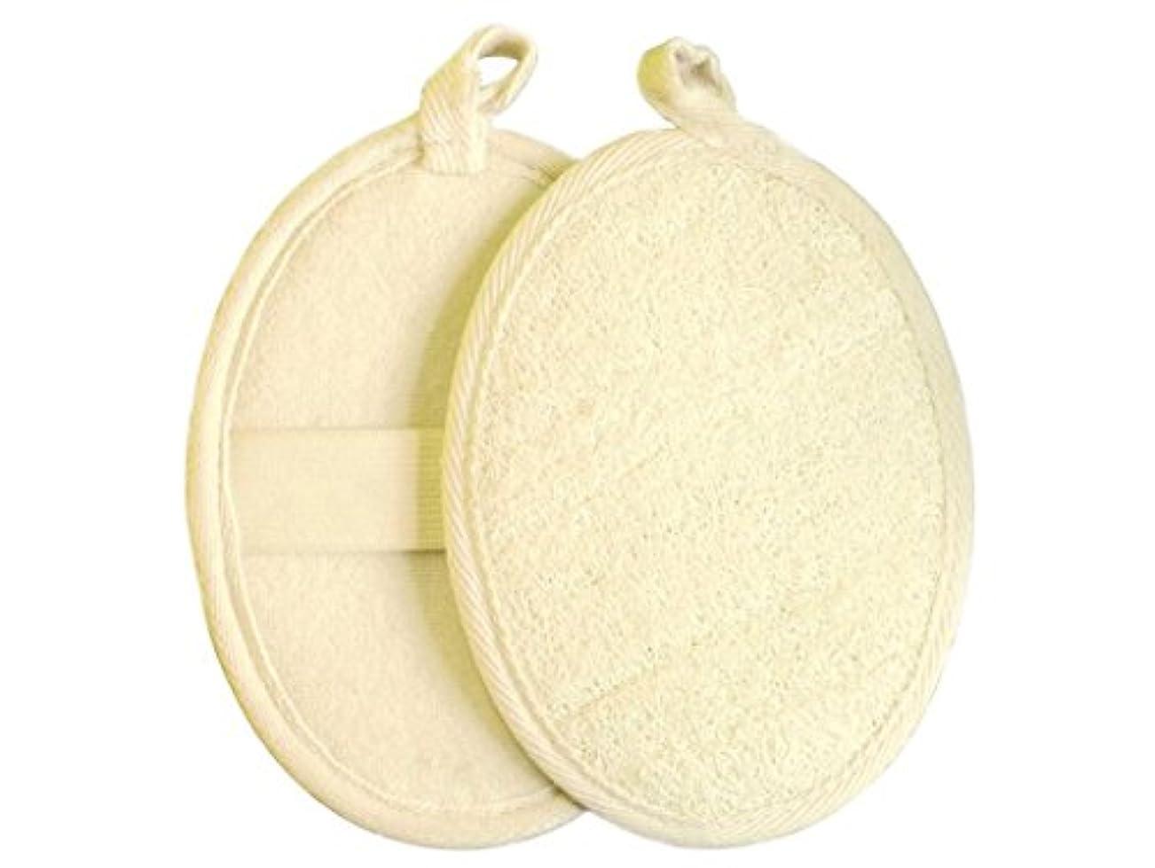 家族防止爆風[Chinryou] ボディ スポンジ 天然 ヘチマ 泡立て 柔らかい バススポンジ お風呂 洗面所 浴室 バスルーム(2枚入)