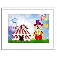 Kids Circus Clown Big Top Tent Funny Framed Wall Art Print
