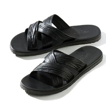 Leather Sandal: Black