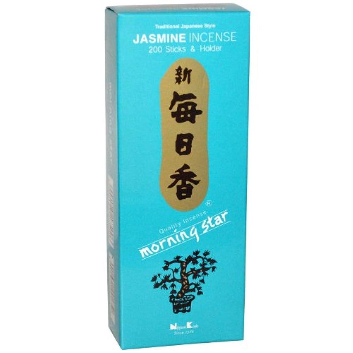 古くなったコショウウサギNippon Kodo, Morning Star, Jasmine Incense, 200 Sticks & Holder