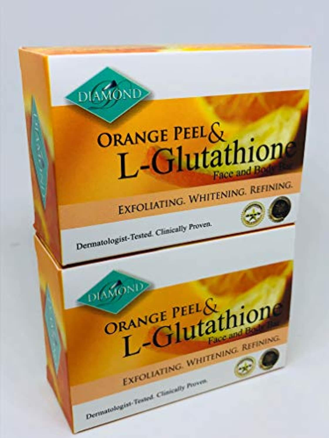 読みやすいラッチぼんやりしたDIAMOND ORANGE PEEL&Glutathione soap/オレンジピール&グルタチオン配合ソープ(美容石けん) 150g×2個 正規輸入品