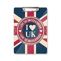 私は、イギリスのユニオンジャック英国旗が好きです フラットヘッドフォルダーライティングパッドテストA4