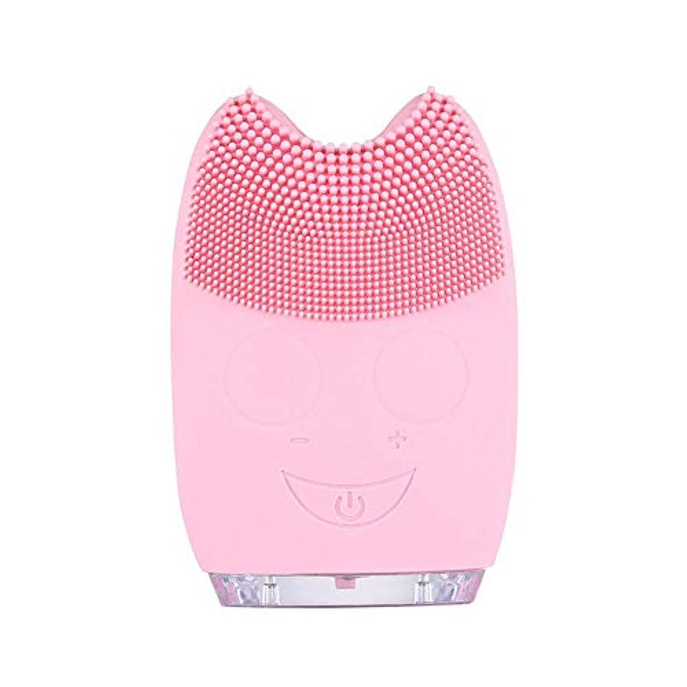 緊張する流産カート洗顔ブラシ ソニックフェイシャルクレンジングブラシマッサージャー充電式電気シリコーン剥離フェイススクラブブラシ ディープクレンジングスキンケア用 (色 : ピンク, サイズ : 9.8*6.4*3cm)