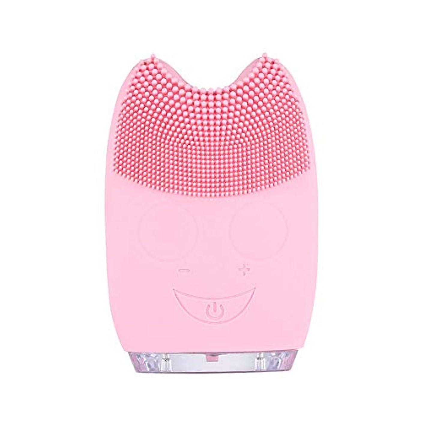 機械的シャイ抵抗洗顔ブラシ ソニックフェイシャルクレンジングブラシマッサージャー充電式電気シリコーン剥離フェイススクラブブラシ ディープクレンジングスキンケア用 (色 : ピンク, サイズ : 9.8*6.4*3cm)