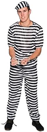 囚人服 4点セット (帽子/服/ズボン/手錠) コスチューム メンズ 165cm - 180cm