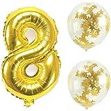 Big Hashiお誕生日パーティー 風船 飾り付け バルーンx2個 ゴールド 数字8バルーン x1個 風船セット(sz-08)