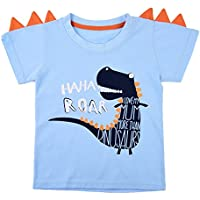 Little Boys Short Sleeve T-Shirt Tee Easter Cotton Dinosaur Shirts Top For Toddler Kids 2-10 Years …