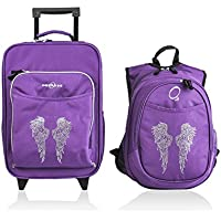 Obersee Kids Luggage and Backpack with Integrated Cooler, Rhinestone Angel Wings (Discontinued by Manufacturer) by Obersee