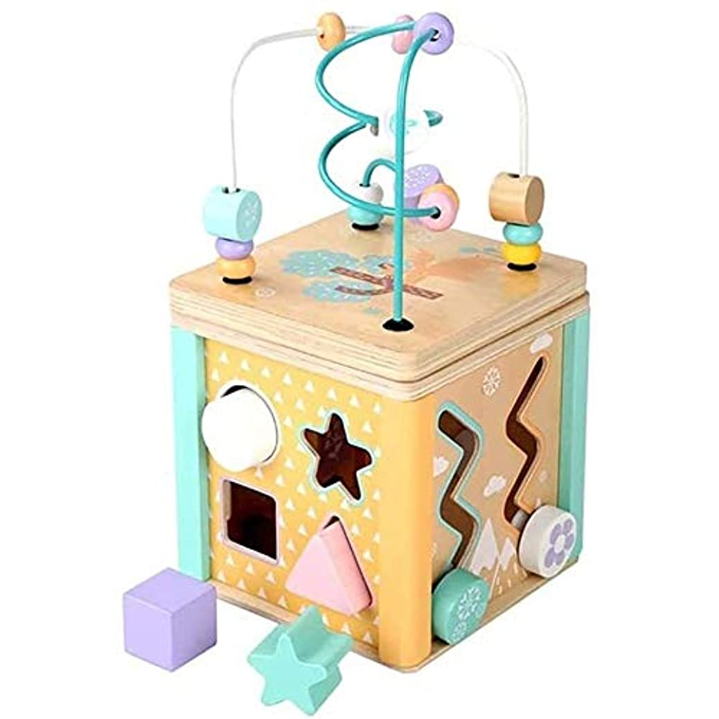 荒れ地着飾る祈るKJRJCD 子供の木製就学前のおもちゃ、森の子どもたちのための多機能宝箱おもちゃ、ビーズの教育玩具のマッチング木製マカロンの形
