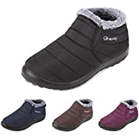 Gracosy Warm Snow Boots, Winter Warm Ankle Boots,Fur Lining Boots,Waterproof Thickening Winter Shoes for Women