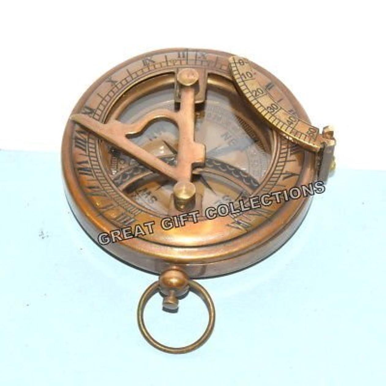 化学者ストレス見せますヴィンテージアンティーク真鍮ポケット日時計コンパスプッシュボタンHumaira Nautical