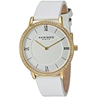 Akribos XXIV Women's Quartz Slim Case with Swarovski Crystal Accented Bezel and Step-Down Dial Genuine Leather Strap Watch AK924