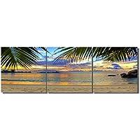 LB 油画 背景絵画 壁アート キャンバス油絵 芭蕉の葉 ビーチ 夕日 (木枠付きの完成品)40 * 40cm*3pcs