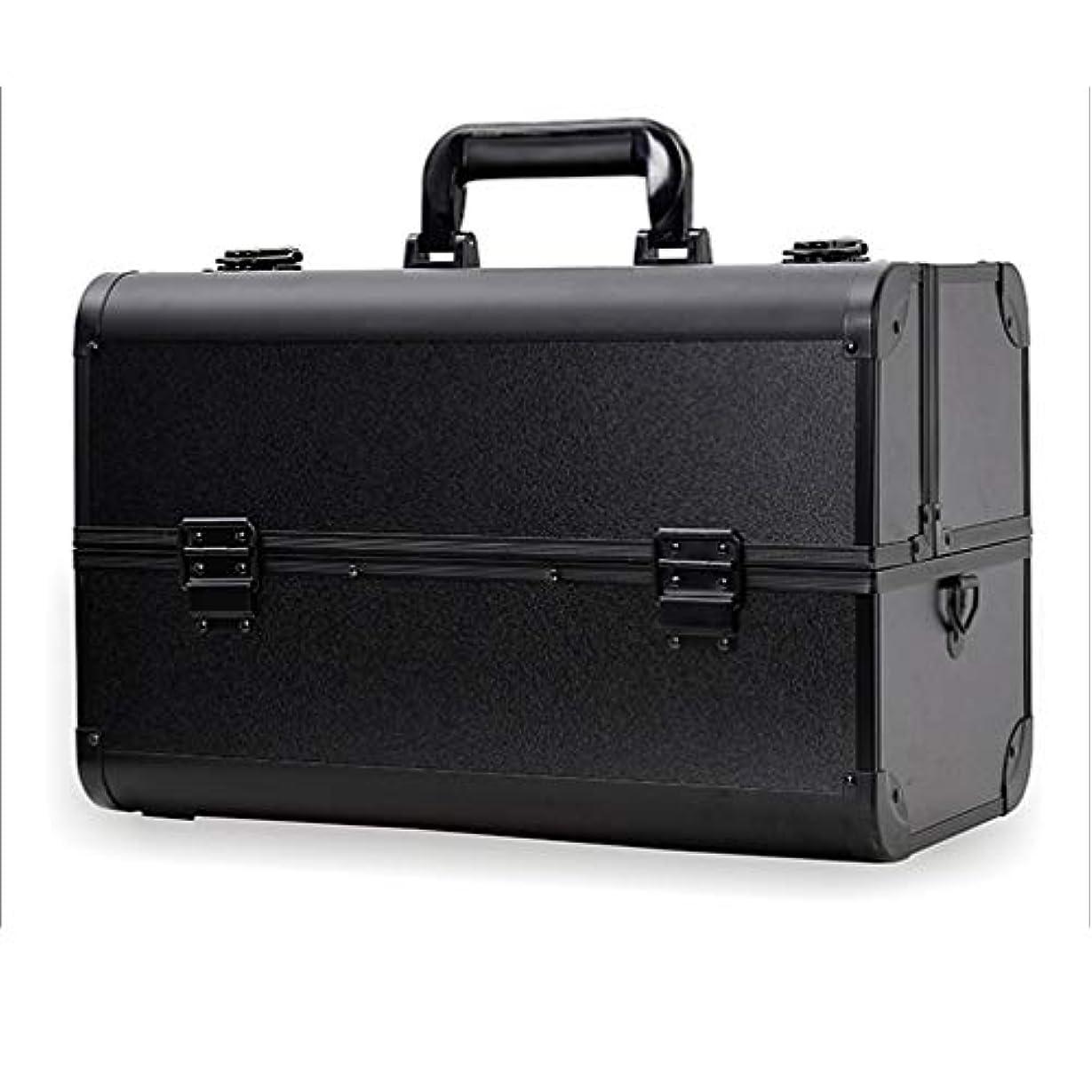 ソビエト対応受け入れたメイクボックス コスメボックス 大容量 2段 化粧ボックス プロ 収納力抜群 鍵付き 洗える 肩掛け かわいい プレゼント 彼女友達へ 取っ手付 コスメBOX ブラック XL