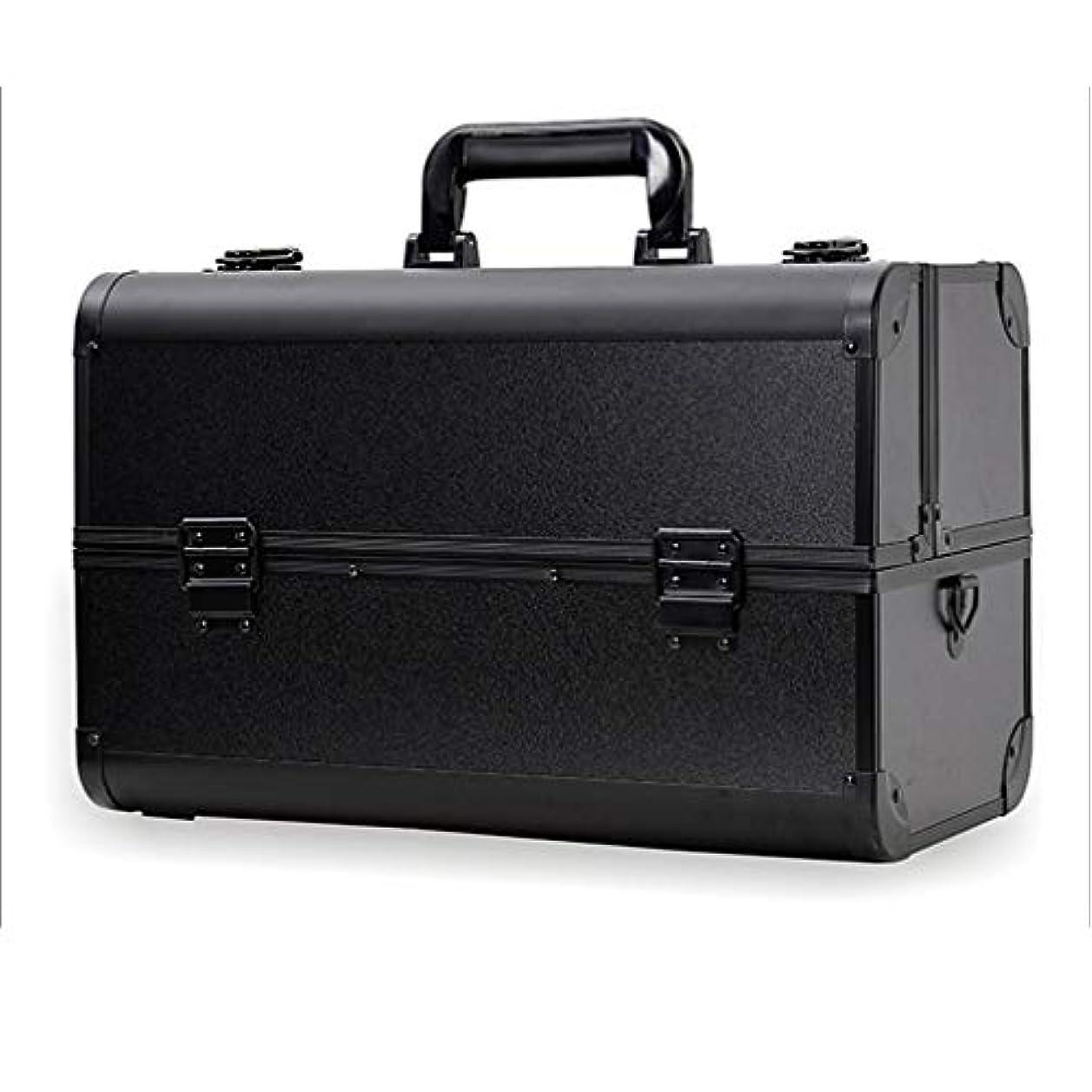 答え知覚するフレッシュメイクボックス コスメボックス 大容量 2段 化粧ボックス プロ 収納力抜群 鍵付き 洗える 肩掛け かわいい プレゼント 彼女友達へ 取っ手付 コスメBOX ブラック XL