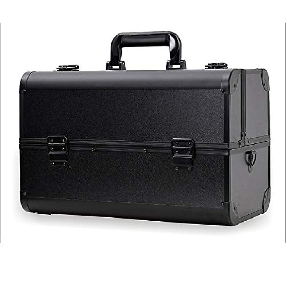 溶けた才能のある文明化するメイクボックス コスメボックス 大容量 2段 化粧ボックス プロ 収納力抜群 鍵付き 洗える 肩掛け かわいい プレゼント 彼女友達へ 取っ手付 コスメBOX ブラック XL