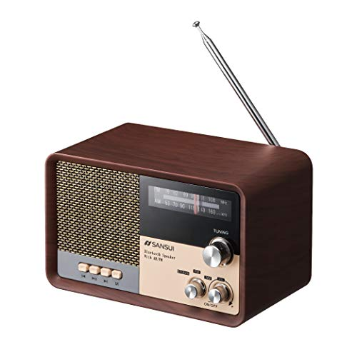 サンスイ Bluetoothスピーカー AM/FMラジオ付き ウッド MSR-1 WD
