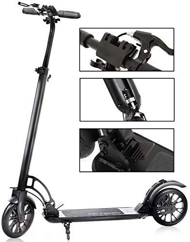 City Commu キックボード キックスクーター モデルX 大人用 8インチホイール ハンドブレーキ付 無段階調節可 折りたたみ サスペンション付 スタンド付 最上位モデル 黒