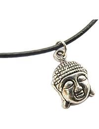 Buddhaネックレス、ヨガ、ネックレス、平和、禅仏教ネックレス、古代シルバーネックレス、Happy Buddha