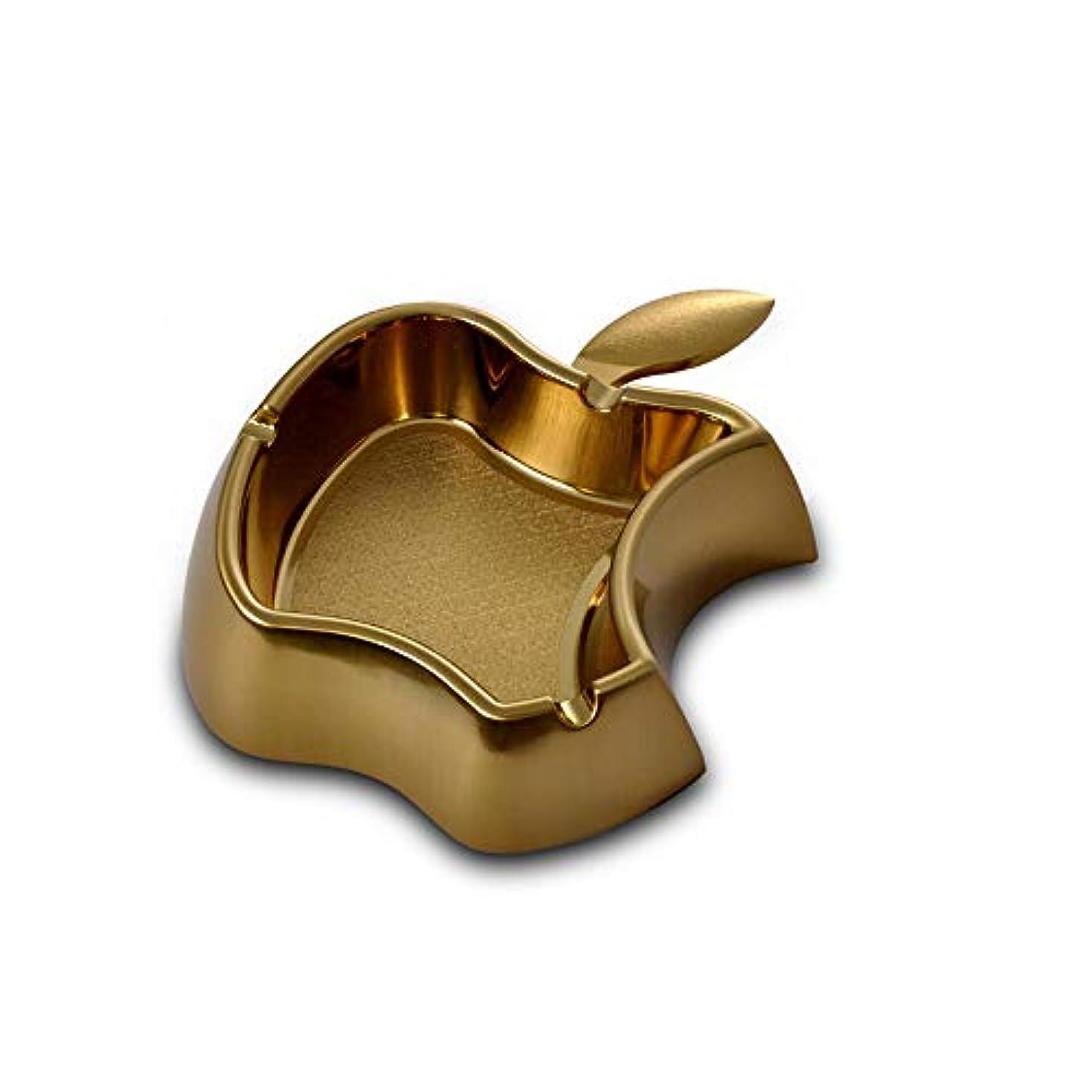 富豪後悔葬儀クリエイティブアップルメタル灰皿シンプルな灰皿耐火ドロップ灰皿 (色 : ゴールド)