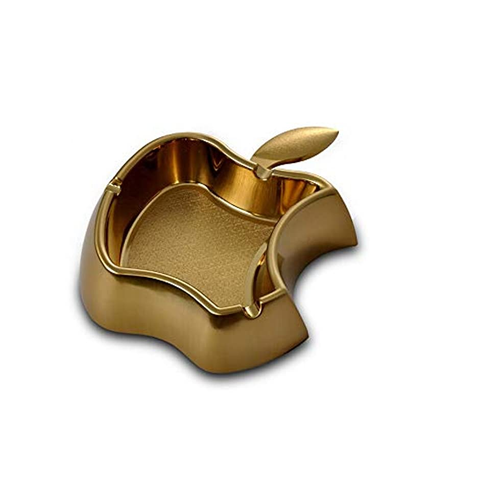 から聞くカポックふさわしいクリエイティブアップルメタル灰皿シンプルな灰皿耐火ドロップ灰皿 (色 : ゴールド)