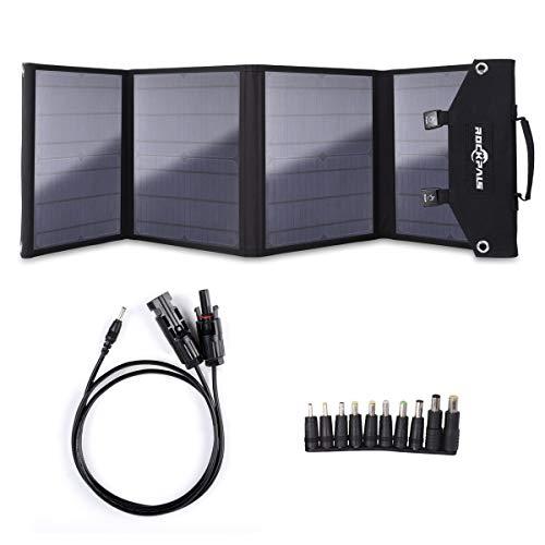 Rockpals ソーラーパネル 100W QC3.0 変換プラグ10枚搭載 高変換効率 折りたたみ式 スマホ ノートパソコン ポータブル電源 充電可能