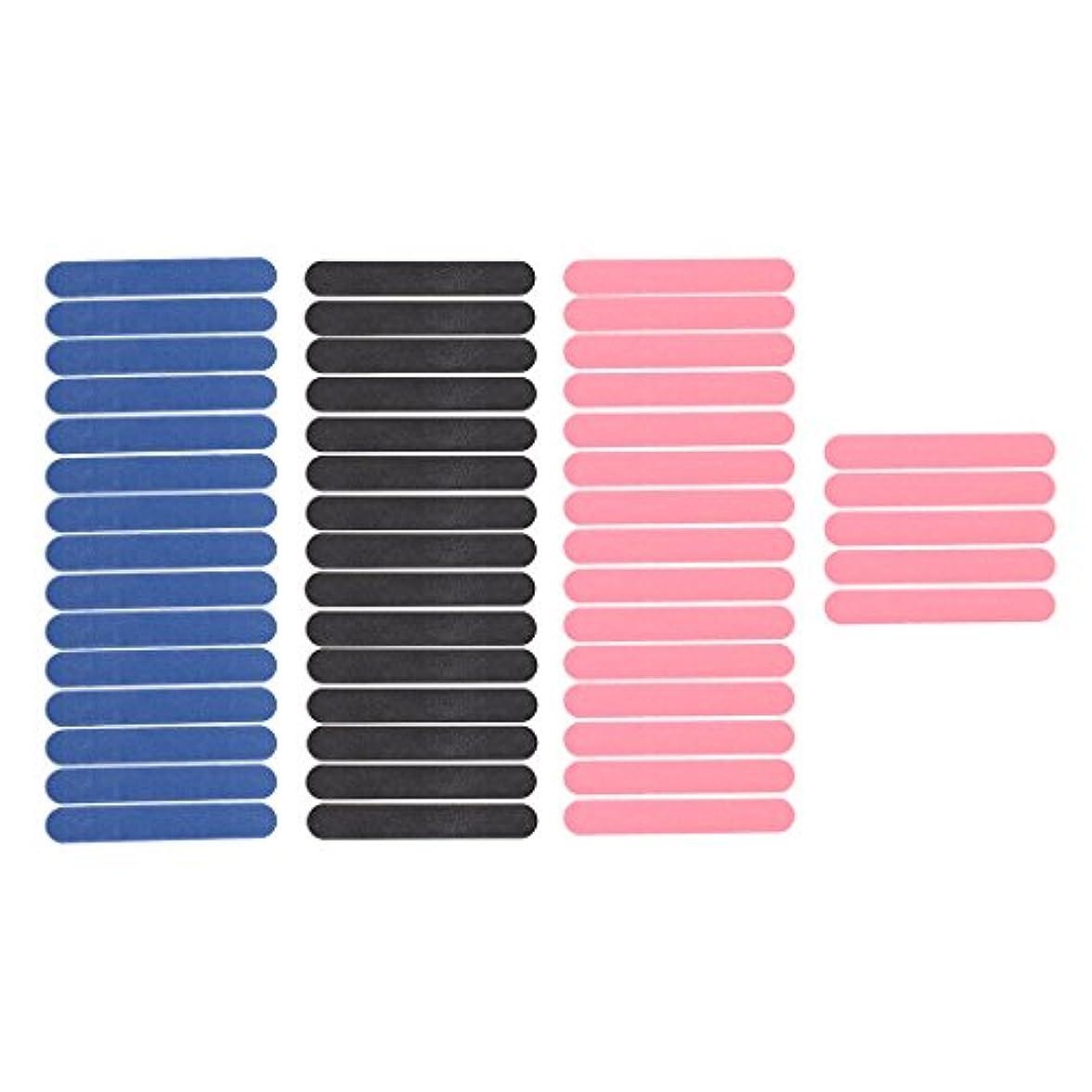 特権的好み皮肉なInjoyo 50枚パックミニネイルアートサンディングサロンバッファーファイルサンドペーパーUVジェルポリッシャーマニキュアツールブラック/ピンク/ブルー両面