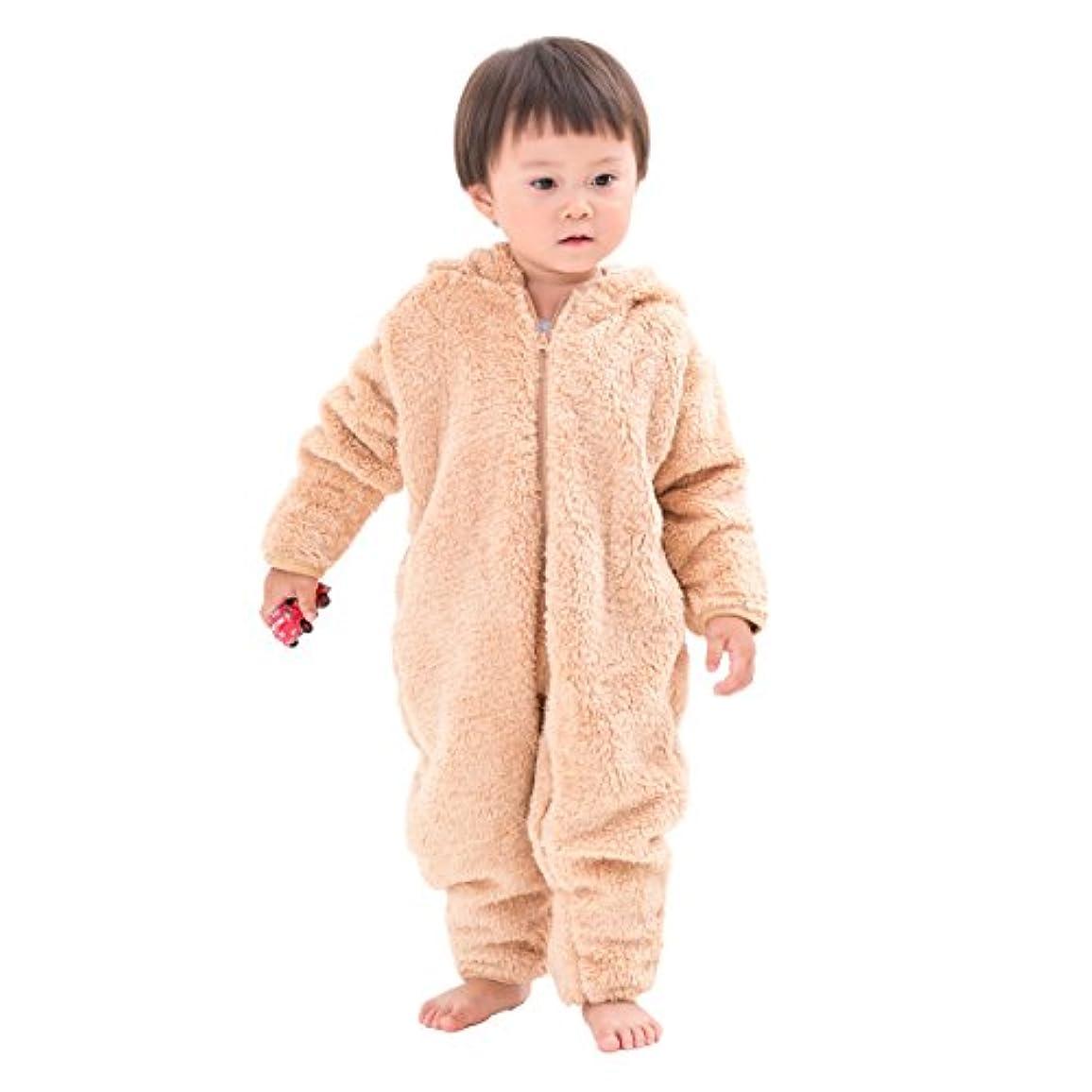 密接にブリード作ります(赤ちゃんまーけっと) クマ 着ぐるみ 赤ちゃん ベビー カバーオール ロンパース 防寒着 ボア モコモコ ギフト ベージュ 80cm