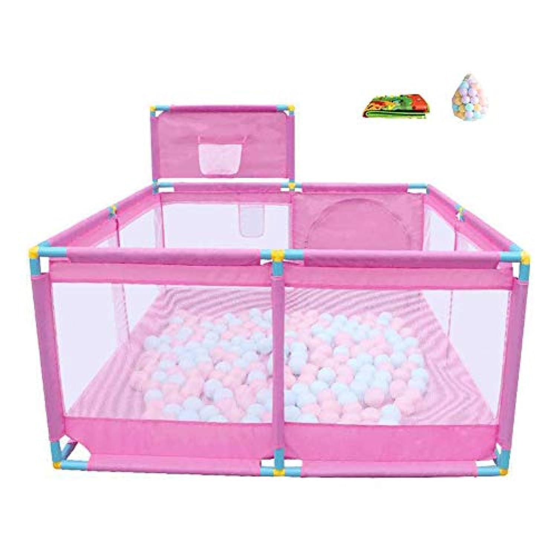 ベビーサークル 赤ちゃんのプレイペン屋内射撃フェンス8パネルの再生庭の子供の遊びペン200ボール、66センチメートル (色 : Pink)
