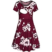 Quinee Women's Floral Short Sleeve Summer Maternity Nursing Breastfeeding Dress