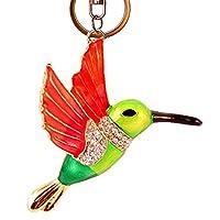 ハミングバードキーチェーン、ハチドリチャーム、鳥ネックレス動物機能キーチェーンキーリング輝くラインストーン財布ペンダントハンドバッグチャーム(グリーン)