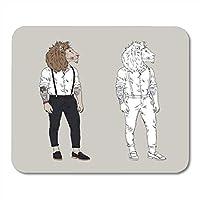 MLsbdゲーミングマウスパッドクールライオンヒップスター毛皮のような動物男タトゥーアクセサリー擬人化装飾オフィスノンスリップラバーバッキングマウスパッドマウスマット