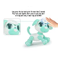 Uインタラクティブスマートパピーロボットインテリジェントロボットドッグタッチ電動犬のおもちゃLED目録音歌う睡眠かわいいおもちゃ(色:緑)