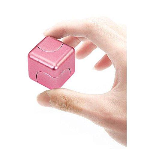 Vicstar Hand spinner Fidget Spinner ハンドスピナー スピン ウィジェット ブロックタイプ 立方体 重量感 フォーカス玩具 EDC玩具 デスク玩具 ストレス解消 時間をつぶす 超耐久性 高速 電子 亜鉛合金 安全性高い ピンク