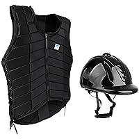 Dovewill 女性 屋外 馬術スポーツ 乗馬用ベスト ヘルメット プロテクター 保護ギア 2点
