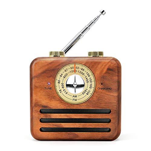 木製ラジオ 木製bluetoothスピーカー レトロラジオ USB充電式AMFMラジオ 木目調 スピーカー木 高音質大音量 スピーカー ラジオ多機能 携帯便利 iPhone & Android対応 説明書付き【Greadio】