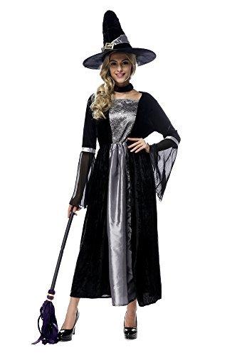 オーフォックス(Oxfox)ハロウィン衣装 ハロウィーン仮装 巫女 魔女 ハロウィン用品 コスプレ衣装 大人用 レディース ロングドレス 公演服 3点セット シルバー