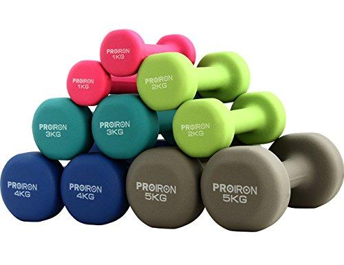PROIRON カラーダンベル ネオプレンダンベルセット 筋トレ レニング ホームジム 片手1kg/2kg/3kg/4kg/5kg ( (3KG x 2個セット-フカミドリ)