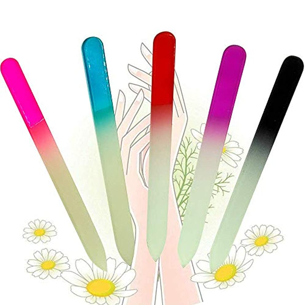 石鹸説明司書KADS ガラス製 爪やすり 爪磨き 5本入り 水洗い可 ネイルを滑らかに ネイルケア用品 (セット1)