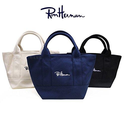 Ron Herman ロンハーマン ミニトートバッグ エコバッグ スクールバッグ キャンバス 綿 帆布 刺繍 ロゴ バッグ バック かばん 手提げ (ブラック)