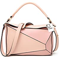 Yoome Women's Faux Leather Casual Tote Bag Boston Shoulder Bag Contrast Color Ipad Purses and Handbags