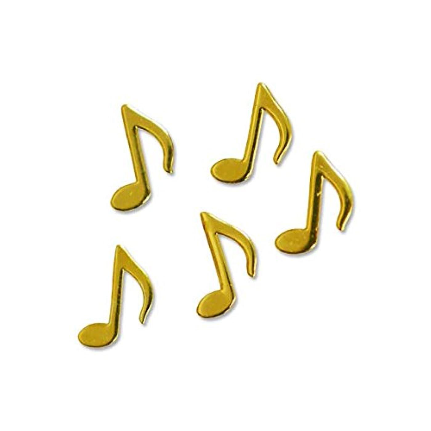 綺麗な雇う支援する薄型メタルパーツ10025ミュージック 音符 おたまじゃくし4mm×5mm(ゴールド)/20p入り